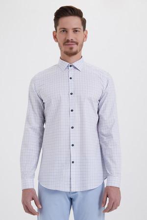 Hatem Saykı - Kareli Slim Fit Mavi Gömlek