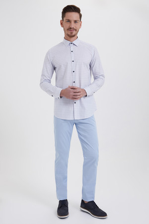 Hatem Saykı - Kareli Slim Fit Mavi Gömlek (1)
