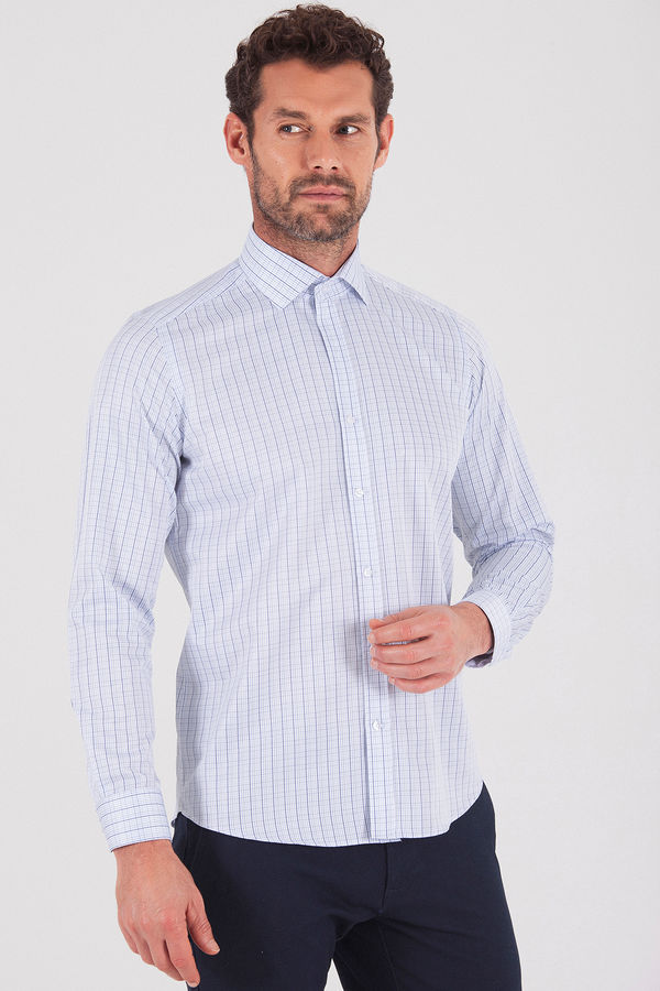 Kareli Slim Fit Mavi Gömlek