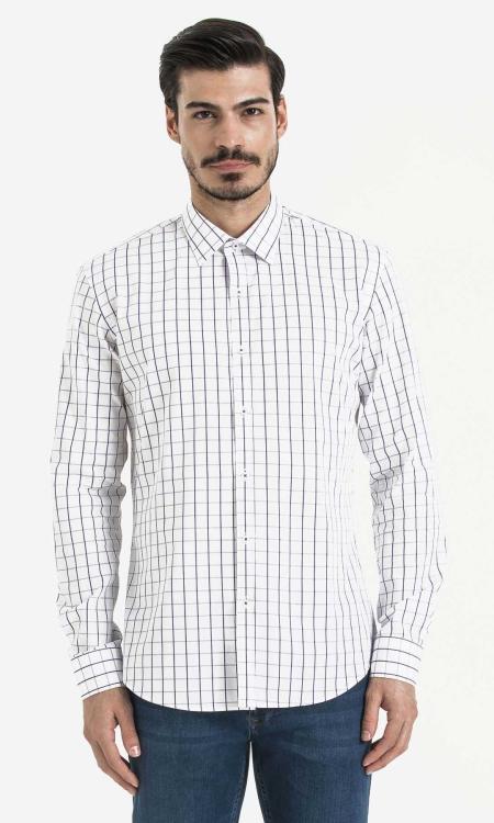 Hatem Saykı - Kareli Slim Fit Mor Gömlek
