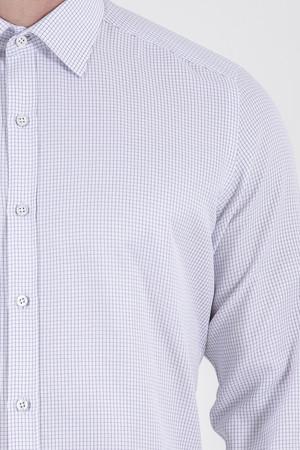 Kareli Slim Fit Beyaz Gömlek - Thumbnail