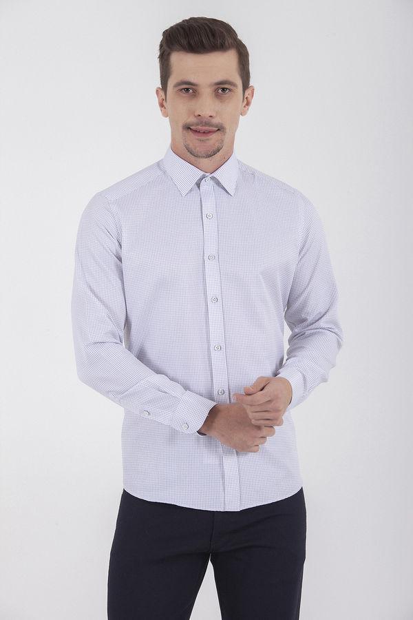 Hatemoğlu - Kareli Slim Fit Beyaz Gömlek