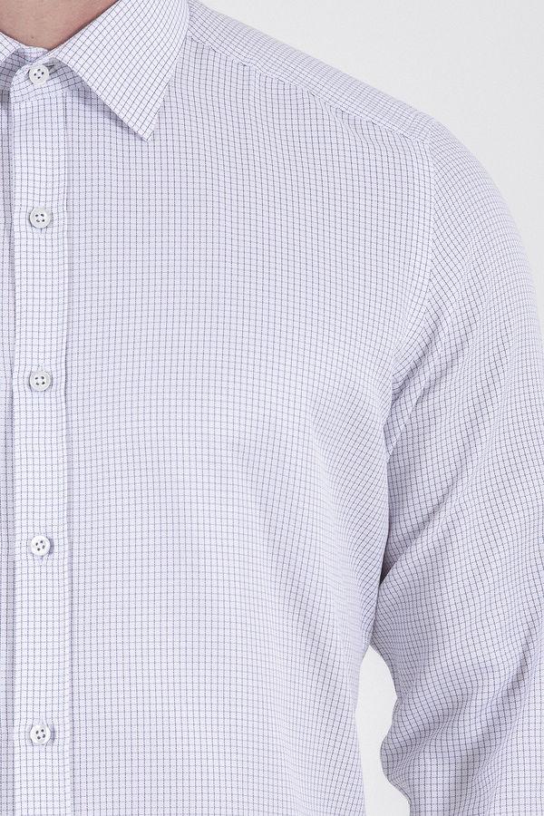 Kareli Slim Fit Beyaz Gömlek