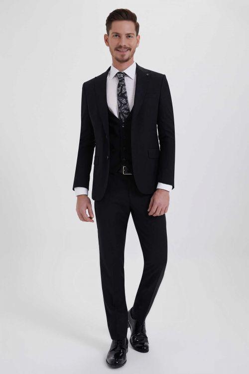 Hatem Saykı - Kareli Slim Fit Siyah Takım Elbise