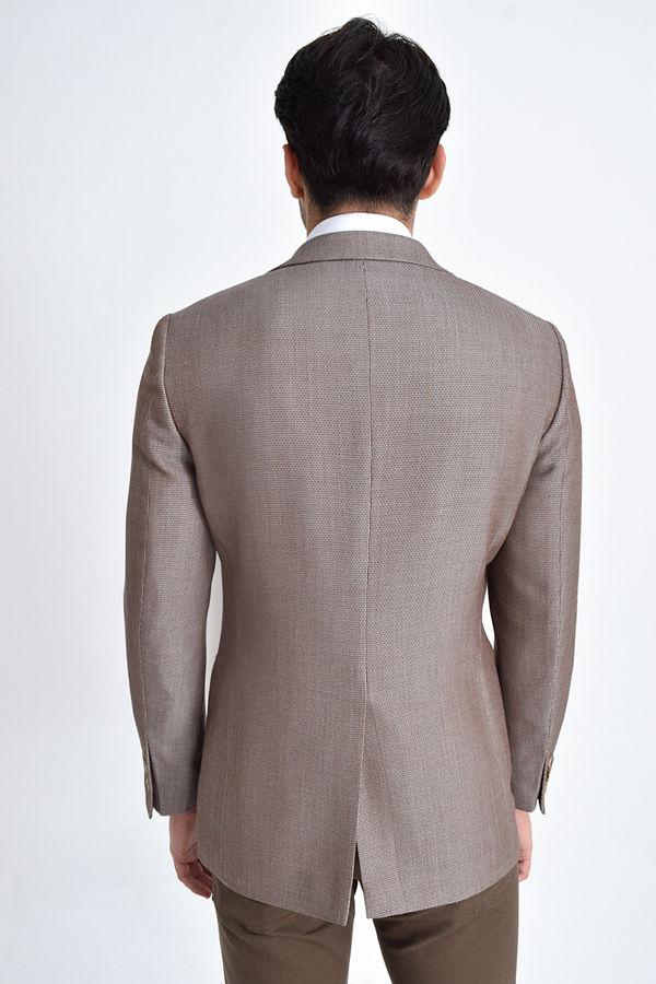 Bej Desenli Slim Fit Ceket