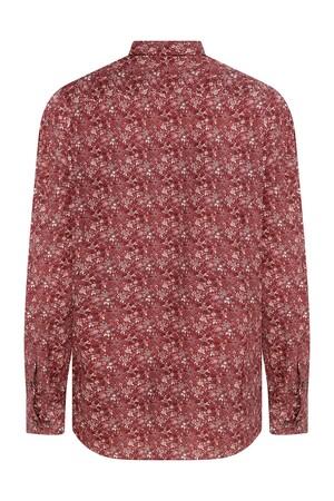 Hatem Saykı - Slim Fit Baskılı Kırmızı Gömlek (1)