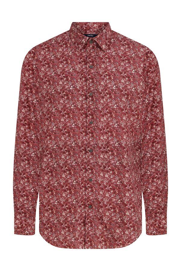 Hatem Saykı - Slim Fit Baskılı Kırmızı Gömlek