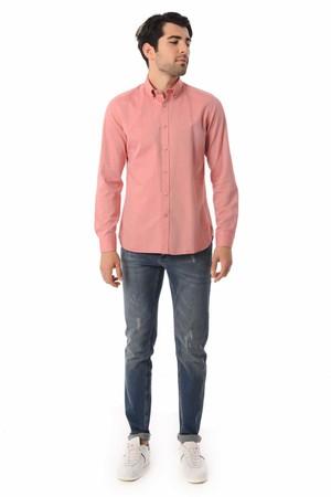 HTML - Kırmızı Slim Fit Gömlek (1)