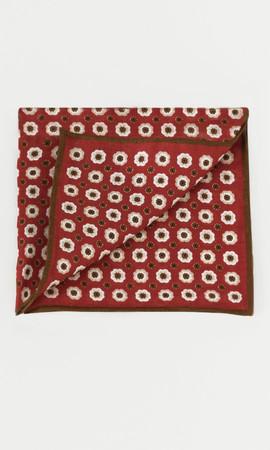 Hatem Saykı - Desenli Kırmızı Keten Mendil