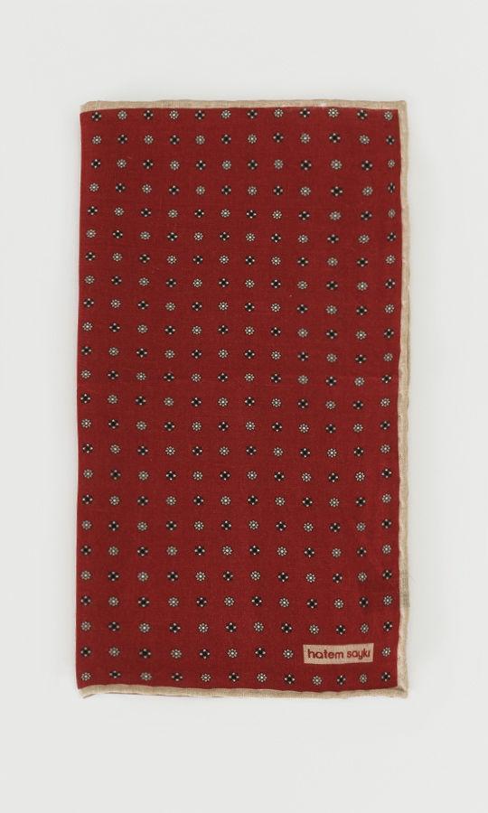 Hatem Saykı - Desenli Kırmızı Keten Mendil (1)