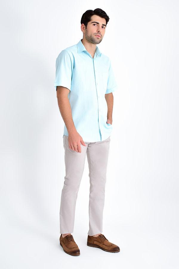 Hatemoğlu - Kısa Kollu Klasik Mavi Gömlek (1)