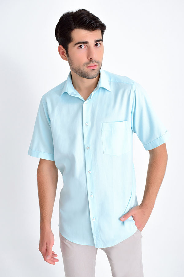 Hatemoğlu - Kısa Kollu Klasik Mavi Gömlek