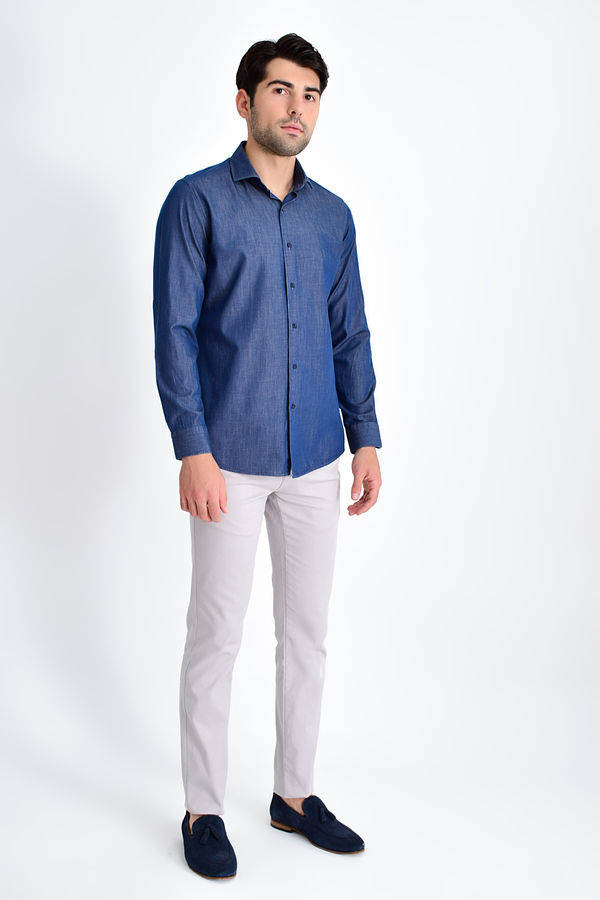 HTML - Lacivert Slim Fit Gömlek (1)
