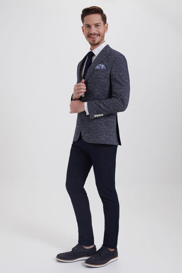 HATEM SAYKI - Lacivert Desenli Slim Fit Ceket (1)