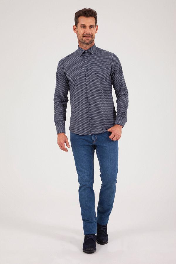 Hatemoğlu - Lacivert Desenli Slim Fit Gömlek (1)