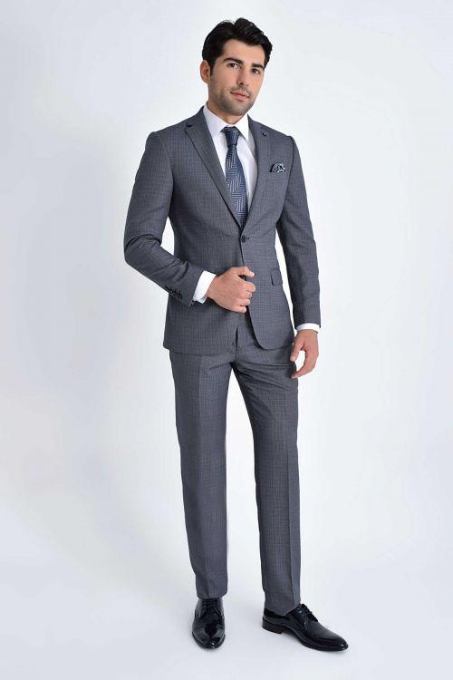 HATEMOĞLU - Lacivert Desenli Slim Fit Takım Elbise