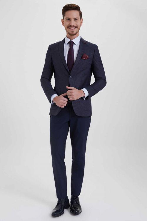 HTML - Lacivert Slim Fit Takım Elbise