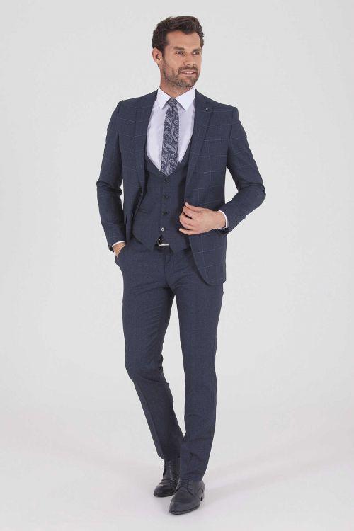 HATEMOĞLU - Lacivert Kareli Slim Fit Takım Elbise (1)