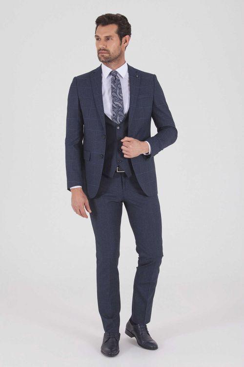 HATEMOĞLU - Lacivert Kareli Slim Fit Takım Elbise