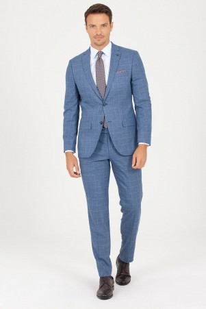 Mavi Slim Fit Kareli Takım Elbise - Thumbnail