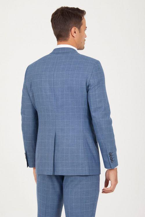 Mavi Slim Fit Kareli Takım Elbise