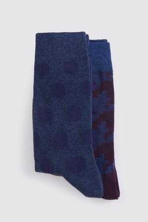 Hatem Saykı - Mavi - Bordo 2'li Çorap