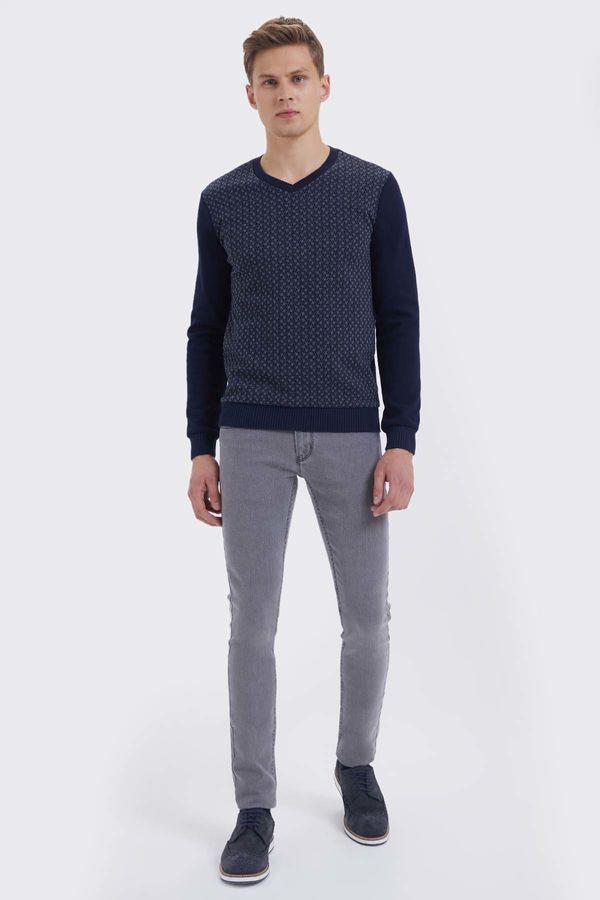 HTML - Lacivert - Gri Melanj Slim Fit Sweatshirt (1)
