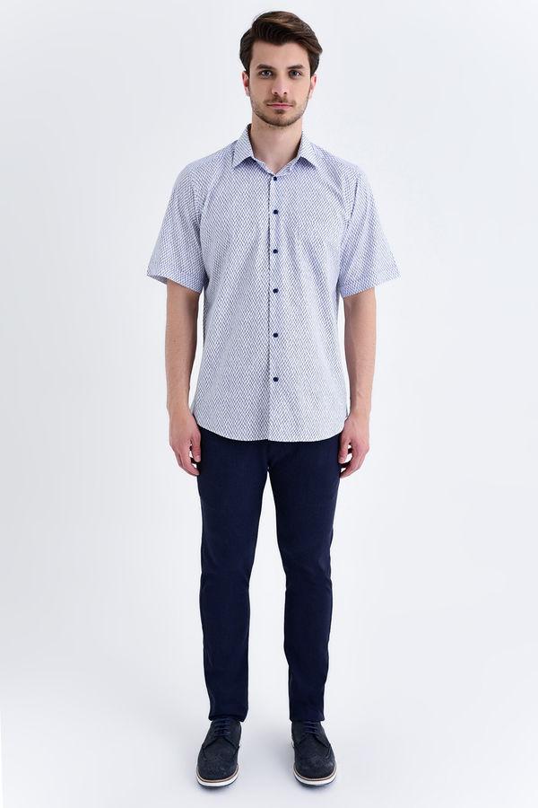 HATEMOĞLU - Lacivert Baskılı Klasik Gömlek (1)