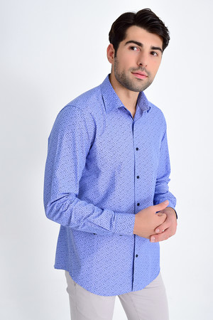 HATEMOĞLU - Lacivert Baskılı Regular Gömlek