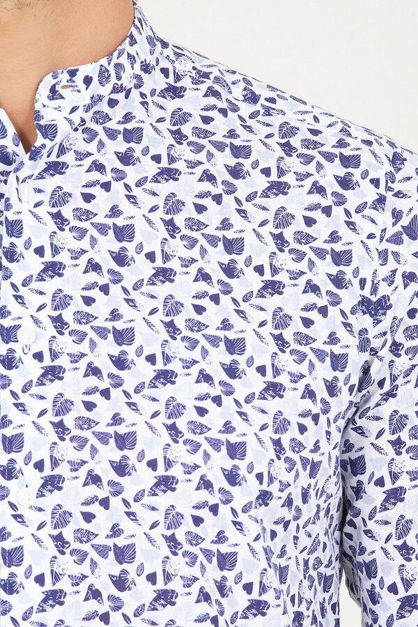Slim Fit Mavi Hakim Yaka Spor Gömlek