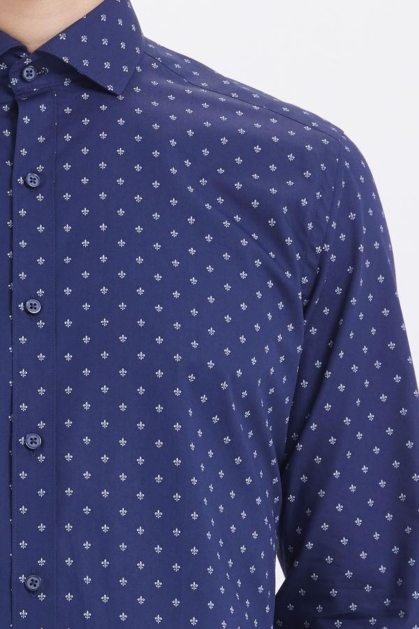 Lacivert Baskılı Slim Fit Gömlek