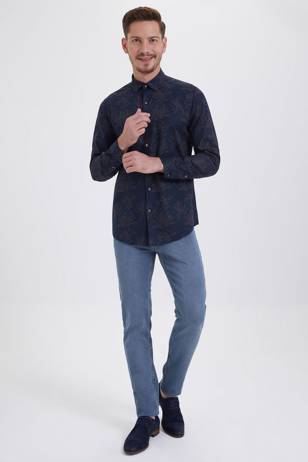 Hatem Saykı - Lacivert Baskılı Slim Fit Gömlek (1)
