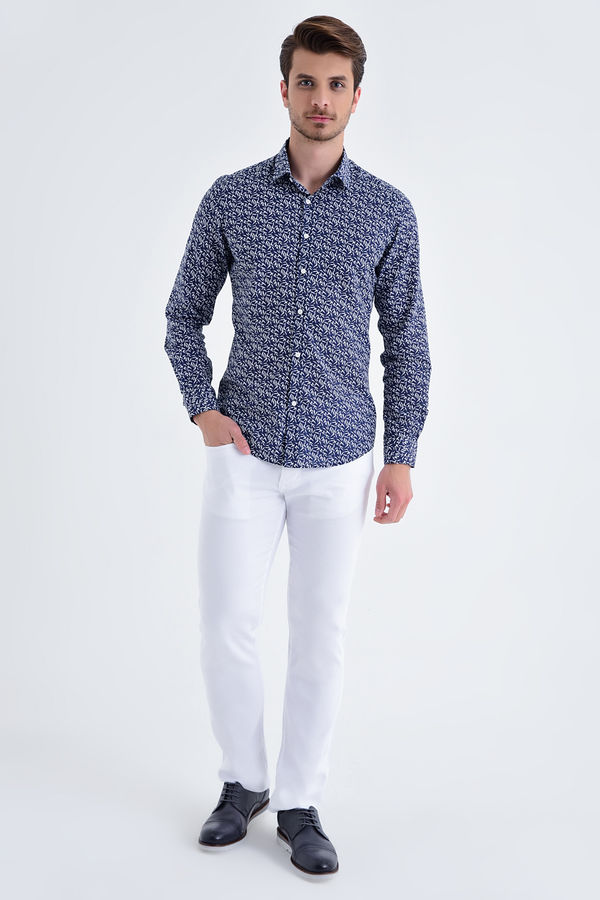 HTML - Lacivert Baskılı Slim Fit Gömlek (1)