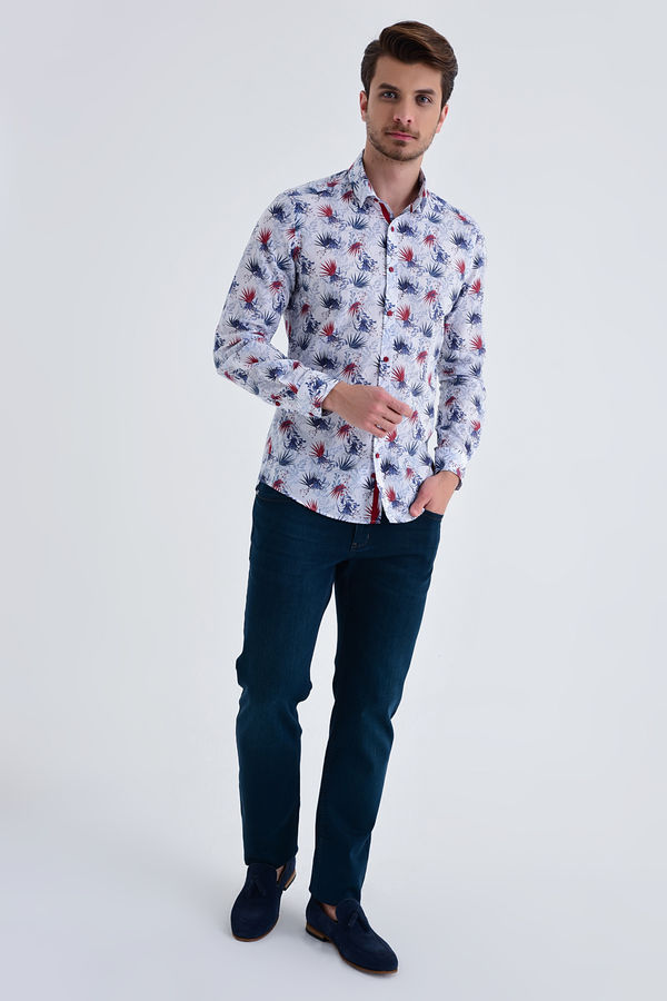 HTML - Lacivert B1 Baskılı Slim Fit Gömlek (1)