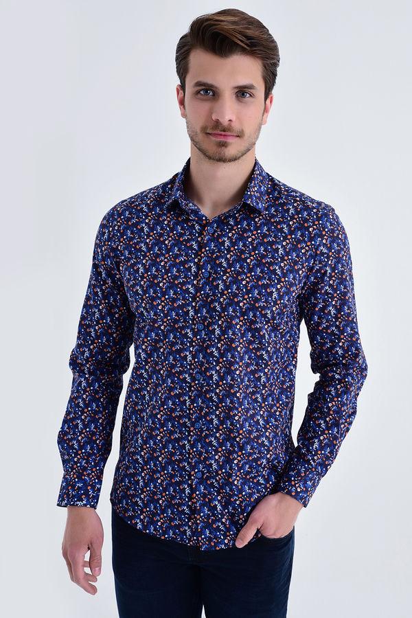 HTML - Lacivert B2 Baskılı Slim Fit Gömlek