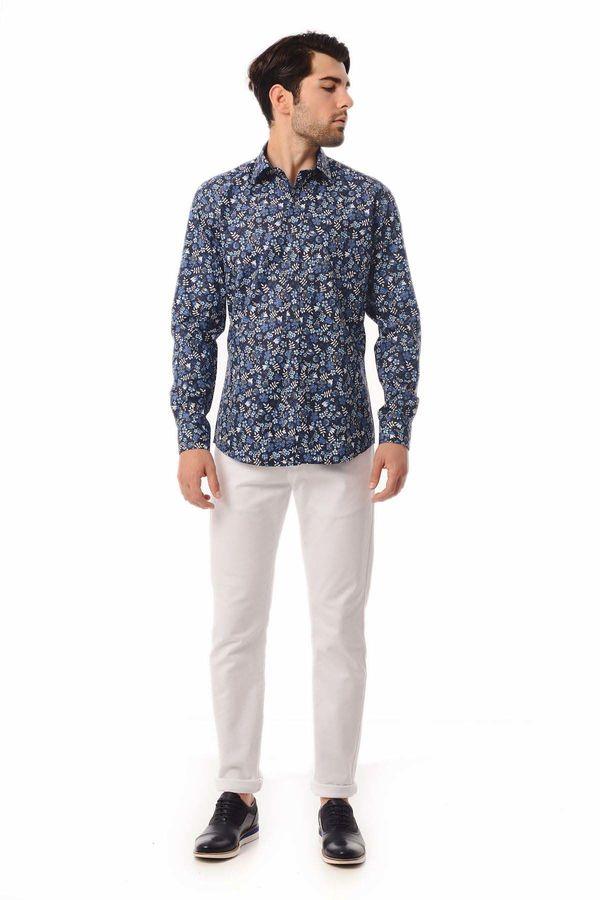 HATEM SAYKI - Lacivert Baskılı Slim Fit Gömlek (1)