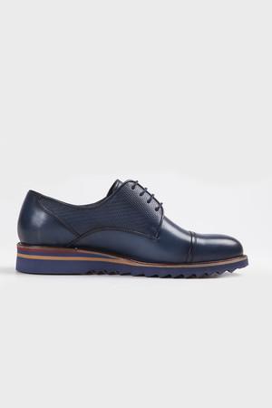 Hakiki Deri Lacivert Günlük Ayakkabı - Thumbnail