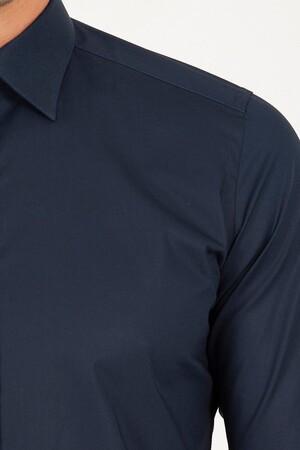 Slim Fit Lacivert Gömlek - Thumbnail