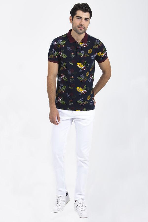 HTML - Lacivert Baskılı Polo Yaka T-shirt (1)