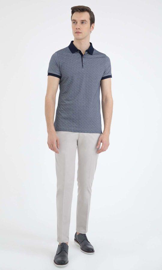HATEM SAYKI - Lacivert - Beyaz - Baskılı Regular T-shirt (1)