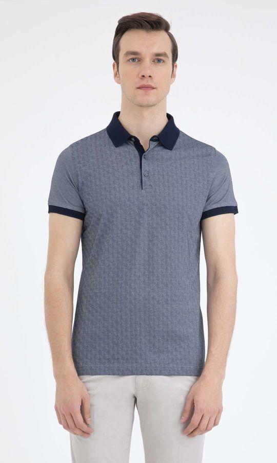 HATEM SAYKI - Lacivert - Beyaz - Baskılı Regular T-shirt