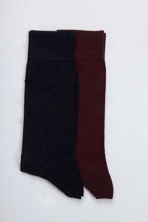 Lacivert - Bordo 2'li Çorap - Thumbnail