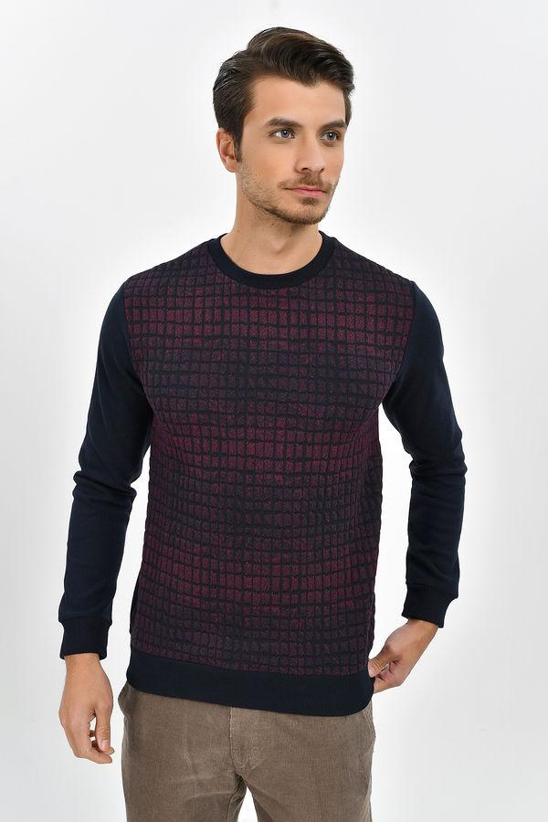 HTML - Lacivert - Bordo Slim Fit Sweatshirt