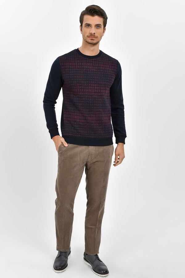 HTML - Lacivert - Bordo Slim Fit Sweatshirt (1)