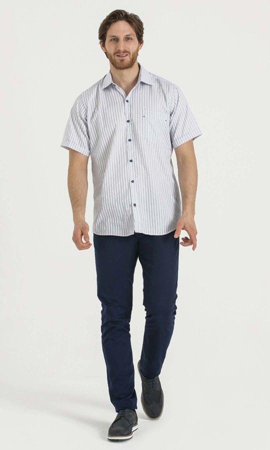 HATEMOĞLU - Lacivert Çizgili Regular Gömlek (1)