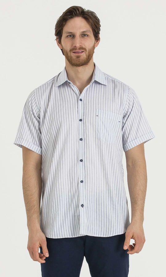 HATEMOĞLU - Lacivert Çizgili Regular Gömlek