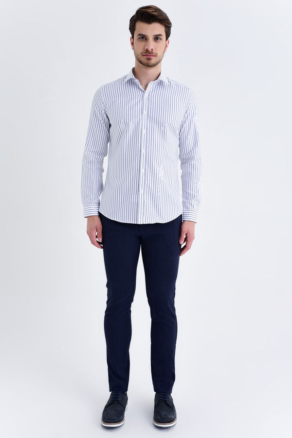 LACİVERT Çizgili Slim Fit Gömlek
