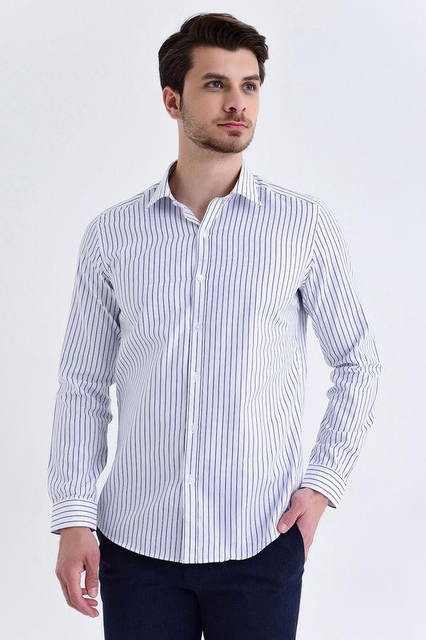 HATEM SAYKI - LACİVERT Çizgili Slim Fit Gömlek