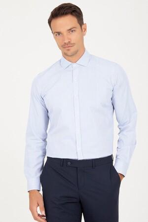 Hatem Saykı - Slim Fit Mavi Çizgili Gömlek