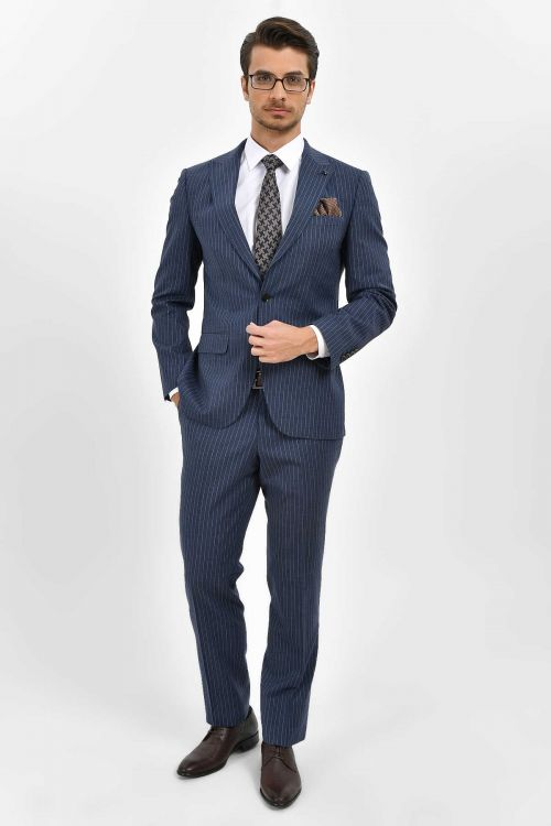 HATEM SAYKI - Lacivert Çizgili Slim Fit Takım Elbise